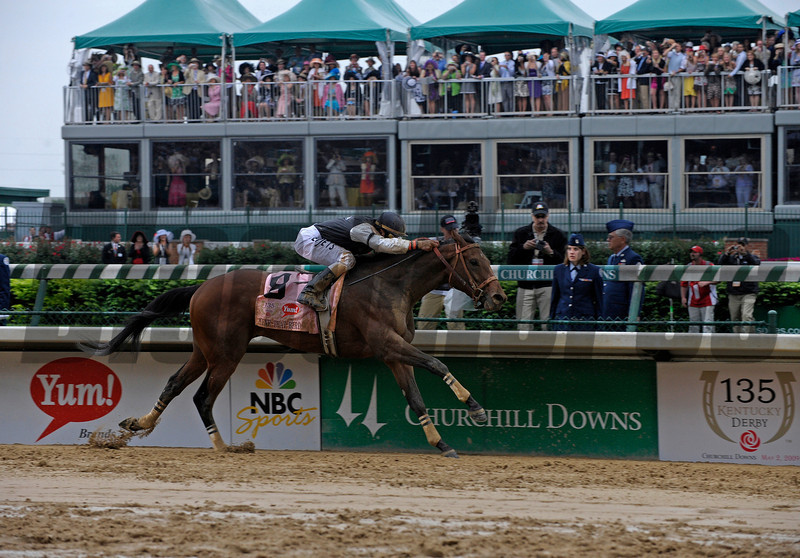 Caption: Mine That Bird with Calvin Borel wins the Kentucky Derby (gr. I) on<br /> Kentucky Derby day at Churchill Downs near Louisville, Ky. on May 2, 2009.<br /> 11-DERBY1  image257<br /> photo by Anne M. Eberhardt