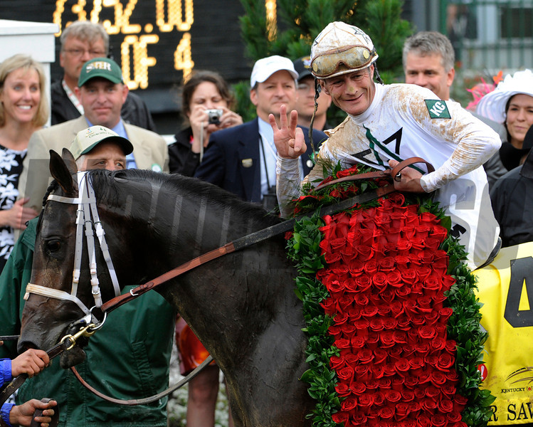 Jockey Calvin Borel wins his third Kentucky Derby in the last four years on Super Saver at Churchill Downs in Louisville, Kentucky May 1, 2010.  (Skip Dickstein)