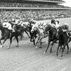 Ta Wee #9 and jockey John L. Rotz leads furious charge before winning the 1969 Vosburgh Handicap.<br /> Photo by: Bob Coglianese