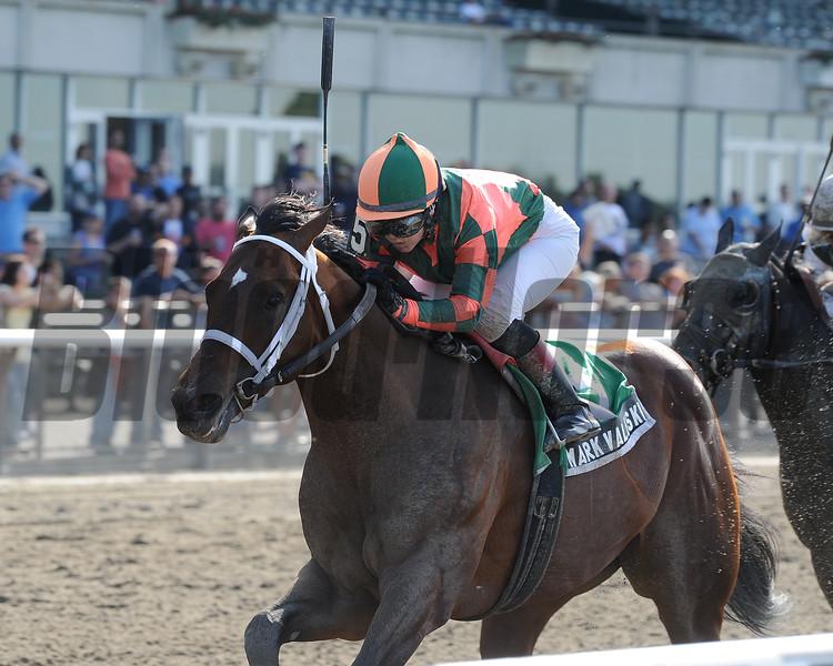 Mark Valeski wons the Peter Pan Stakes at Belmont, 2012