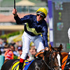 Frankie Dettori celebrates his victory aboard Pounced in The Juvenile Turf...