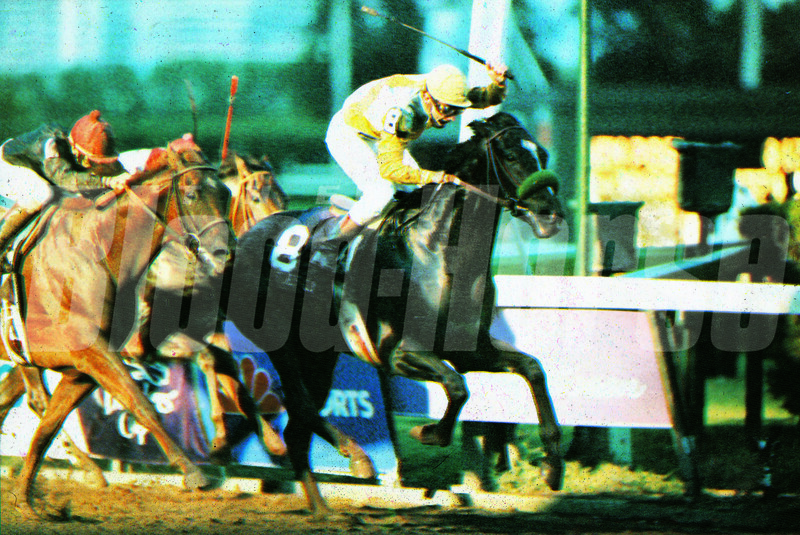 Sunday Silence wins the 1989 Breeders' Cup Classic at Gulfstream Park with Chris McCarron aboard<br /> Skip Dickstein Photo