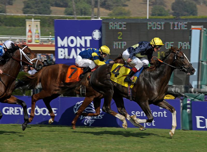Caption: <br /> Pounced with Frankie Dettori wins the Juvenile Turf.<br /> Breeders' Cup Saturda at Oak Tree/Santa Anita on Nov. 7, 2009, in Pasadena, California.<br /> Origs2image<br /> PHoto by Anne M. Eberhardt