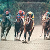 Serena's Song wins the 1995 Beldame over Heavenly Prize (far left) and Lakeway (red and blue silks left)<br /> Skip Dickstein Photo