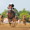 PHOTO BY SKIP DICKSTEIN  - SARATOGA RACE COURSE  - JULY 26, 2008 - COMMENTATOR WITH JOCKEY JOHN VELAZQUEZ WINS THE 81ST RUNNING OF THE WHITNEY GI.