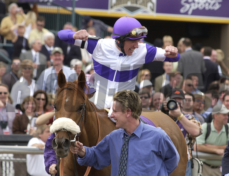 Breeders Cup October 30, 2004 RICK SAMUELS PHOTO<br /> <br /> Frankie Dettori reacts after winning the Juvenile aboard Wilko