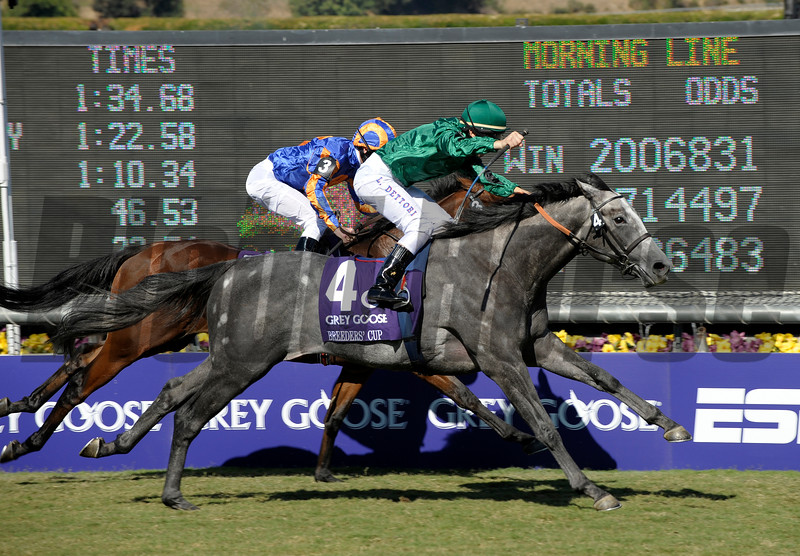 Caption:<br /> Donativum with Frankie Dettori wins the Grey Goose  Breeders' Cup Juvenile Turf   on October 25, 2008, at Santa Anita in Arcadia, California. Westphalia in second.<br /> Race6JuvenileTurfimage4316<br /> Poto by Anne M. Eberhardt