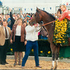 Lil E. Tee wins the 1992 Jim Beam Spiral Stakes at Turfway Park. <br /> Photo by: Skip Dickstein