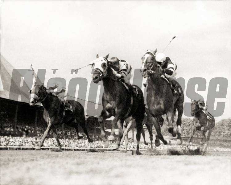 #3 Jaipur and jockey WIllie Shoemaker defeat #2 Ridan to win the 1962 Travers Stakes at Saratoga Springs on August 18, 1962.<br /> Photo by: Bob Coglianese/NYRA