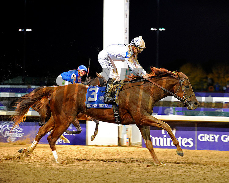 Caption: <br /> Drosselmeyer with Mike Smith wins the Breeders' Cup Classic at Churchill Downs in Louisville, Ky. on Nov. 5, 2011.<br /> Classic1 image391<br /> Photo by Anne M. Eberhardt