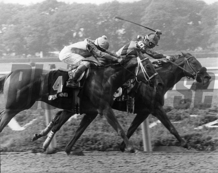 Open Mind wins the Coaching Club American Oaks at Belmont Park after Nite of Fun was disqualified<br /> Coglianese Photo.