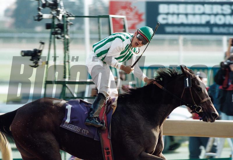 Corey Nakatani with Jewel Princess in the 1996 Breeders' Cup Distaff<br /> Skip Dickstein Photo