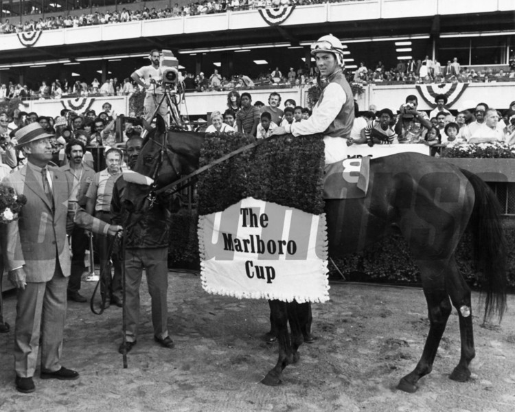 Winter's Tale with Jeffrey Fell up after winning 1980 Marlboro Cup<br /> Photo by Bob Coglianese