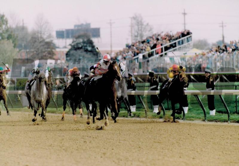 Sheikh Albadou wins the 1991 Breeders' Cup Sprint<br /> Skip Dickstein
