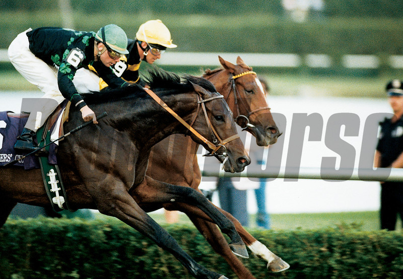 Prized wins the 1989 Breeders' Cup Turf.<br /> Skip Dickstein Photo