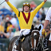 Calvin Borel and Rachel Alexandra after their victory in the 134th Preakness Stakes at Pimlico.<br /> Rich Samuels photo