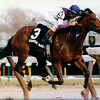Strategic Maneuver winning the 1993 Grade II Demoiselle Stakes at Aqueduct.<br /> Photo by: Skip Dickstein