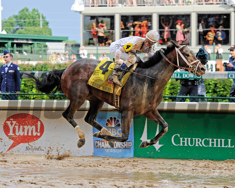 Caption: Super Saver with Calvin Borel wins the Kentucky Derby (gr. I)<br /> Derby day at Churchill Downs near Louisville, Ky. on May 1, 2010.<br /> DerbyOrigs1  image272<br /> Photo by Anne M. Eberhardt