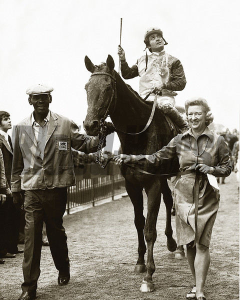 Forego wins the 1974 Woodward Stakes at Belmont Park, Martha Gerry<br /> Photo by: Bob Coglianese