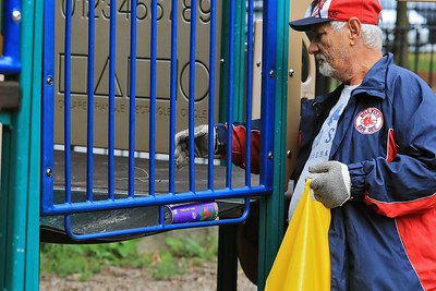 """Cleaning up Joanne """"Mama"""" Fitz Memorial Playground, September 22, 2018"""