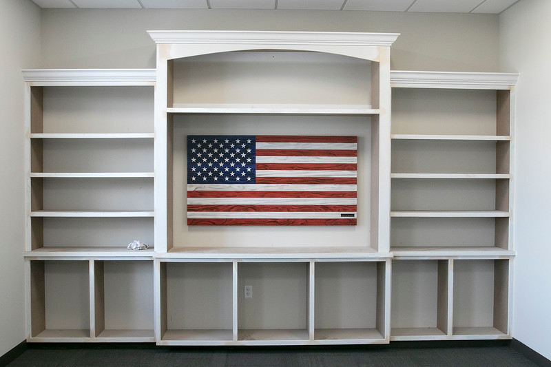 Clear Path for Veterans is renovating a building on Devens. This bookshelf is part of the library they are putting into the building. SENTINEL & ENTERPRISE/JOHN LOVE