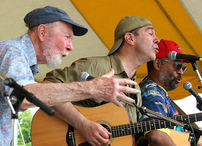 Pete Seeger, John Hall and Vance Gilbert on the main stage at the 2006 Clearwater Great Hudson River Revival.