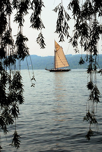 The Hudson River Sloop Clearwater sailing without it's jib on a calm June day in 2006.