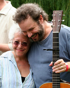 Janis Ian and John Gorka getting caught up just before sound check.