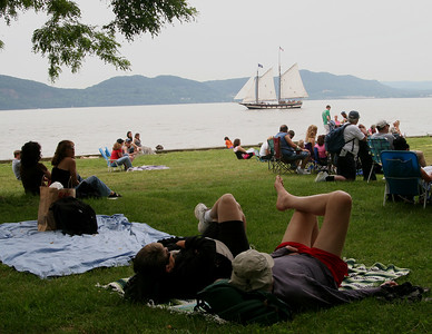 The Mystic Whaler sailing on the Hudson as it passes the River Stage.