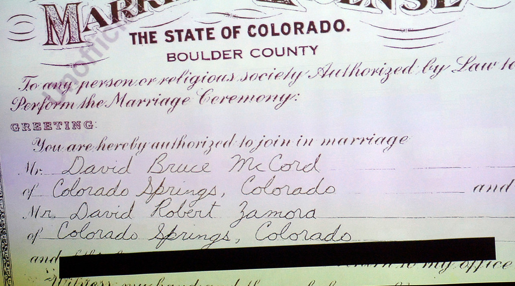 . BOULDER, CO: January 4, 2019: The first same sex marriage license from 1975.  Clela Rorex was honored on January 4, 2019  for being the first county clerk in the nation  to issue a same sex marriage license in 1975 in Boulder. For more photos, go to dailycamera.com. (Photo by Cliff Grassmick/Staff Photographer)