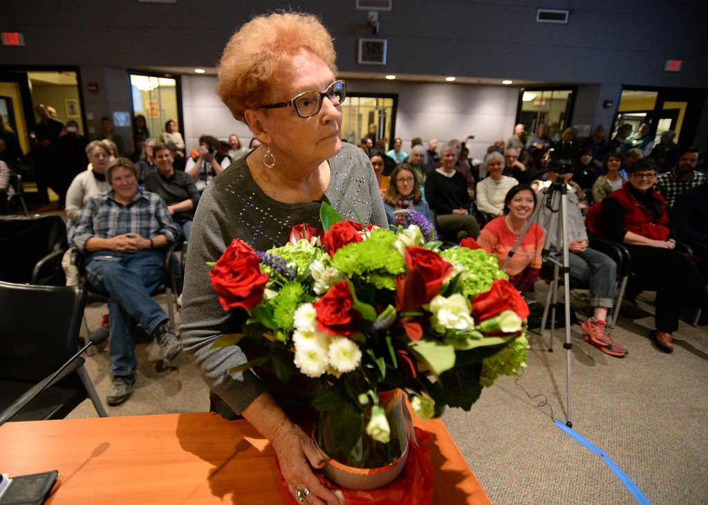 . BOULDER, CO: January 4, 2019:  Clela Rorex was presented with flowers for the occasion.  Clela Rorex was honored on January 4, 2019  for being the first county clerk in the nation  to issue a same sex marriage license in 1975 in Boulder. For more photos, go to dailycamera.com. (Photo by Cliff Grassmick/Staff Photographer)