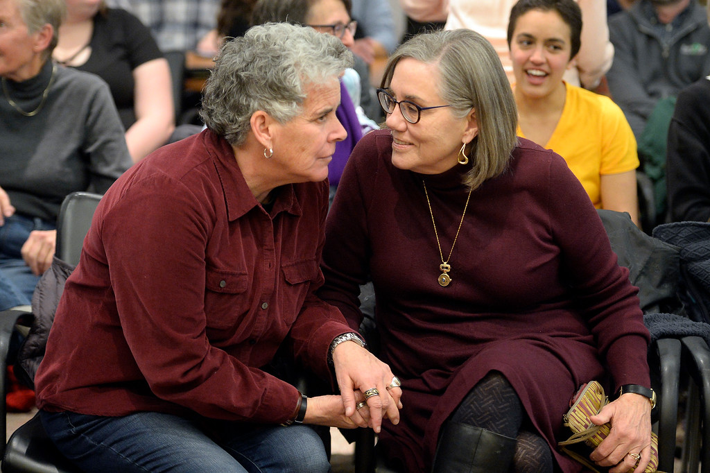 . BOULDER, CO: January 4, 2019: Bylo Farmer,l eft, and Angie Holley, were a married couple featured in a video at the ceremony. Clela Rorex was honored on January 4, 2019  for being the first county clerk in the nation  to issue a same sex marriage license in 1975 in Boulder. For more photos, go to dailycamera.com. (Photo by Cliff Grassmick/Staff Photographer)
