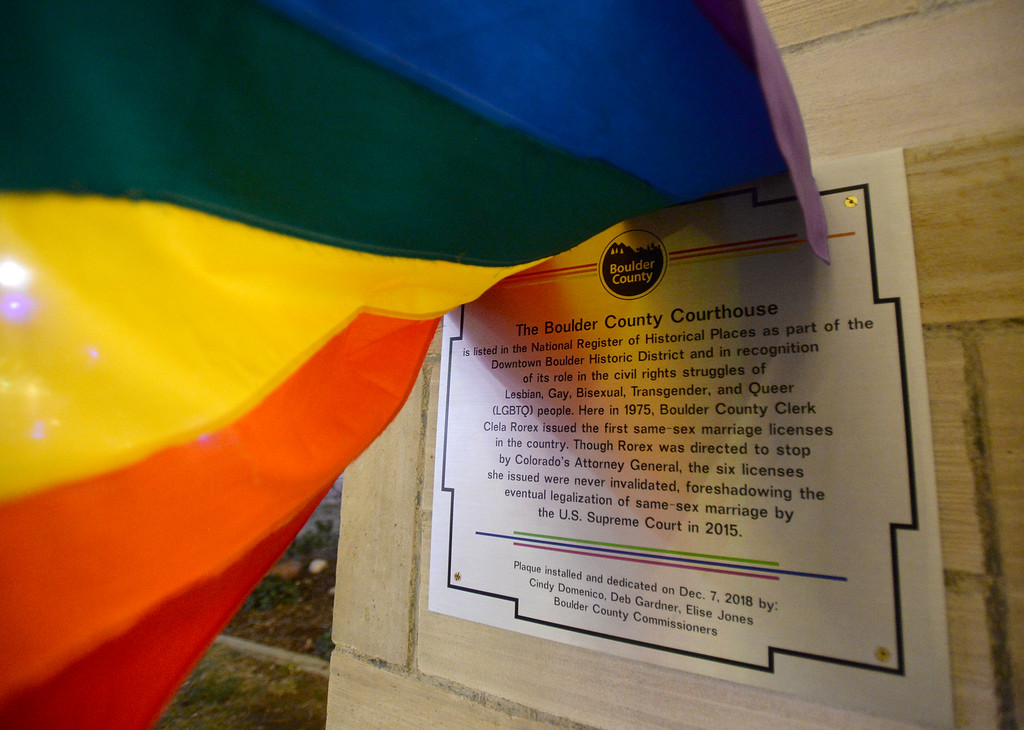 . BOULDER, CO: January 4, 2019: A historic plaque is now attached to the downtown Boulder County Courthouse.   Clela Rorex was honored on January 4, 2019  for being the first county clerk in the nation  to issue a same sex marriage license in 1975 in Boulder. For more photos, go to dailycamera.com. (Photo by Cliff Grassmick/Staff Photographer)