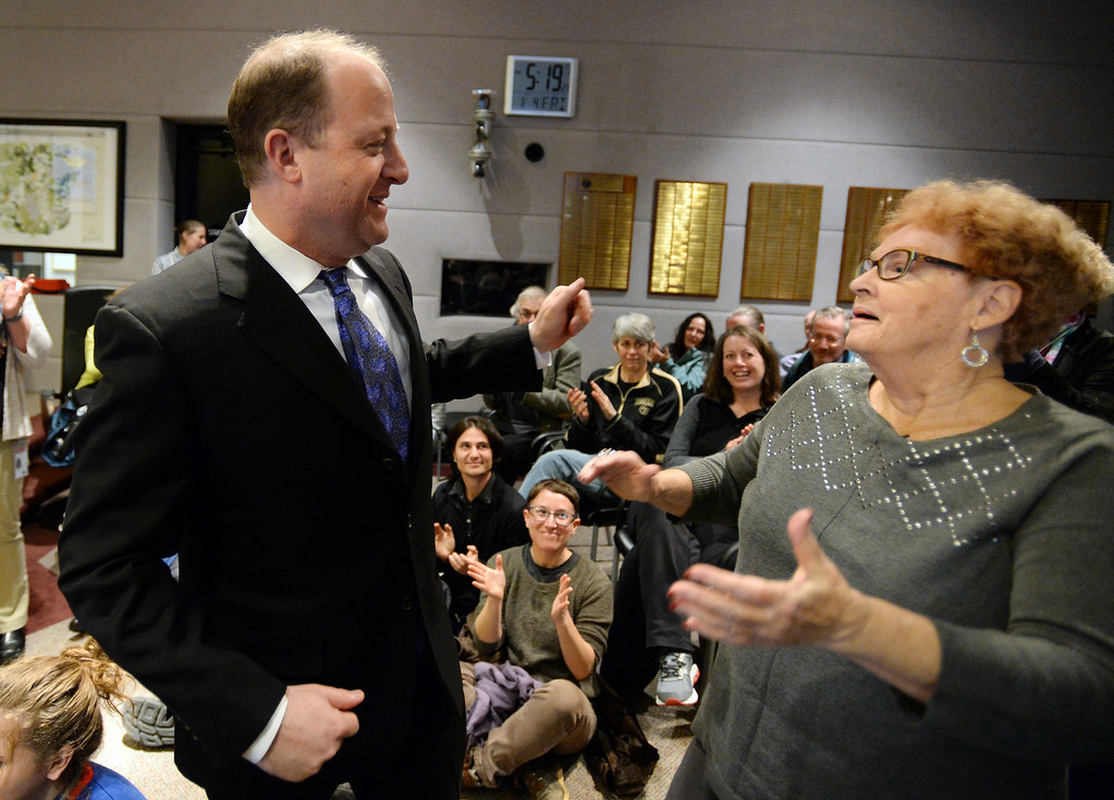 . BOULDER, CO: January 4, 2019: Clela Rorex gets a surprise visit from Colorado Governor-elect, Jared Polis, during the ceremony. Clela Rorex was honored on January 4, 2019  for being the first county clerk in the nation  to issue a same sex marriage license in 1975 in Boulder. For more photos, go to dailycamera.com. (Photo by Cliff Grassmick/Staff Photographer)