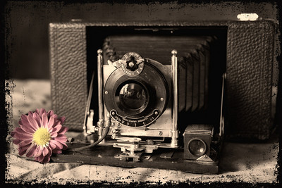 Creative Challenge #6- Still life:  Vintage Camera, sepia and touch color, nik color efex pro 3 &  graphic authority edges.