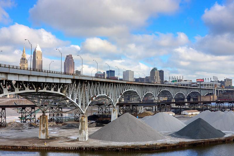 Cleveland horizon looking over the I-90 bridge.