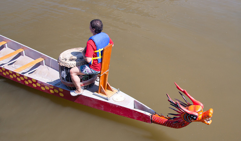 These drums are used to synchronize the twenty paddlers of the dragon boats.