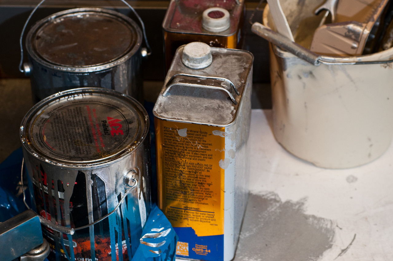 The oil-based aluminum paint we use for corrosion protection is an expensive mess, but it works extremely well.