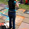 Self taking photo self portrait of chalk self portrait. :)