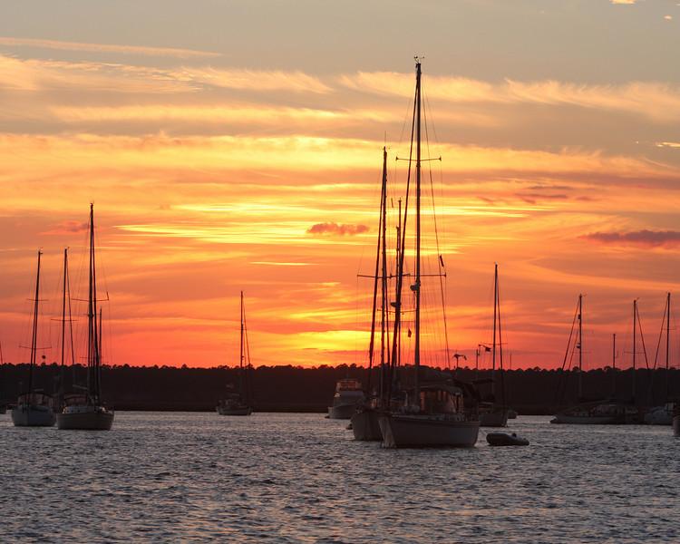 Sunset on Sailboats 7308
