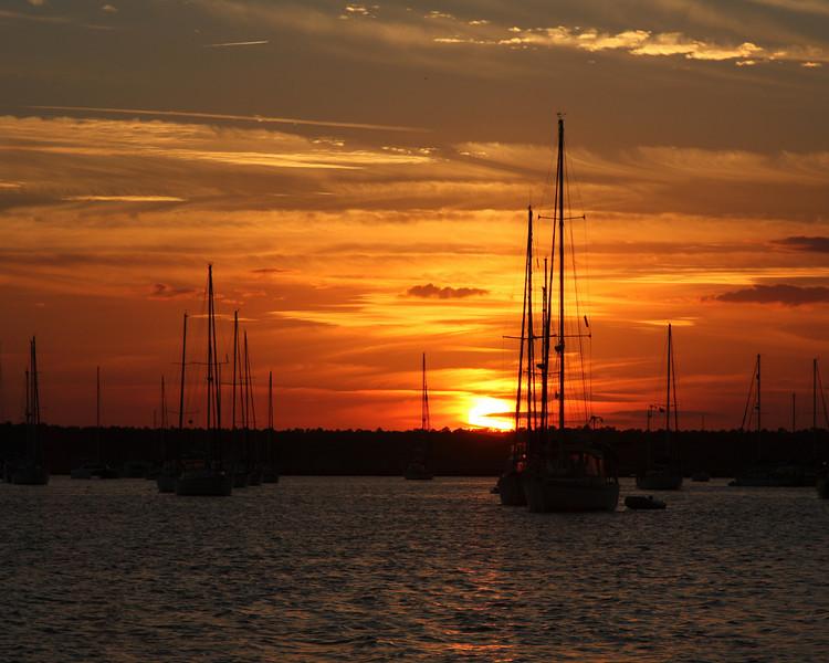 Sunset on Sailboats 7295