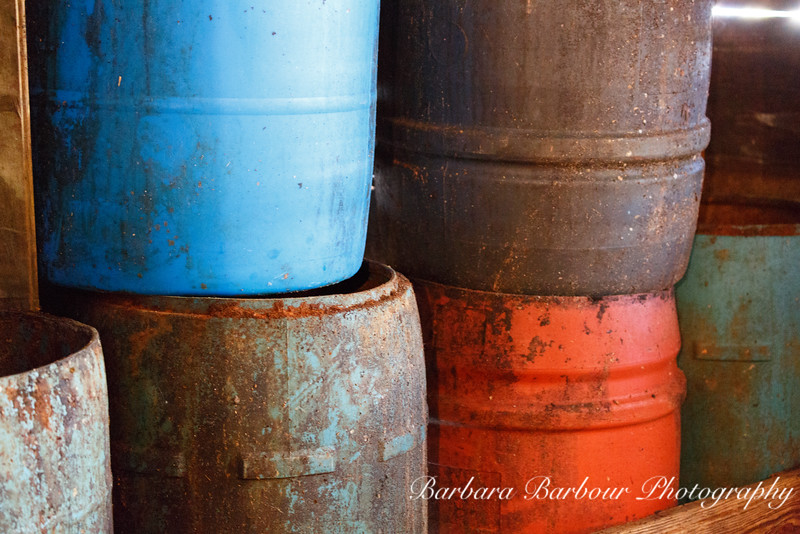 Colorful pots at lobster dock in Bass Harbor, Maine