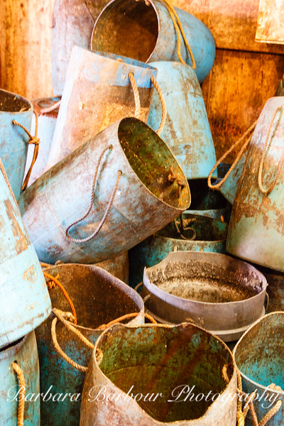 Rusty colorful pots, Bass Harbor lobster dock, Maine