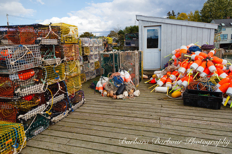 Lobster dock at Bass Harbor, Maine, with traps, buoys, and ropes