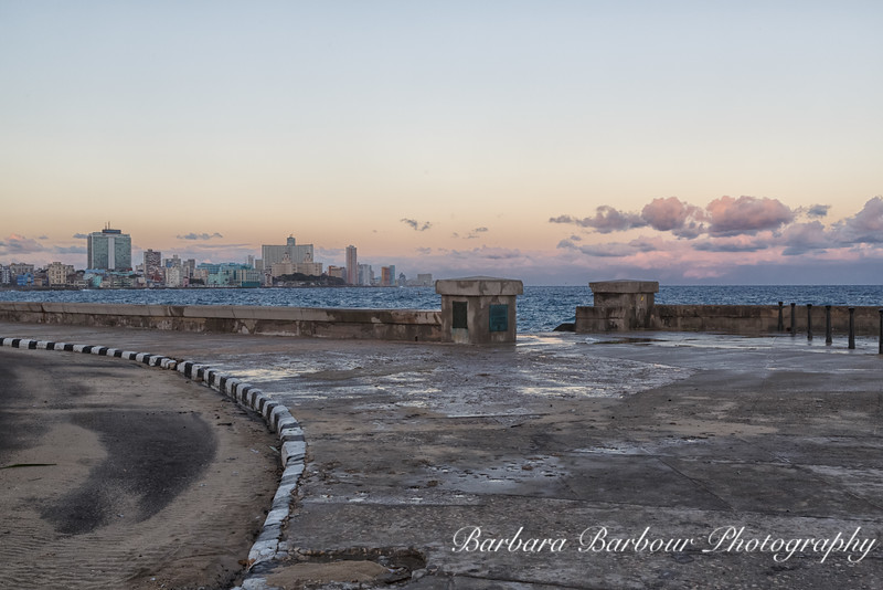 Sunrise along the Malecon and Seawall