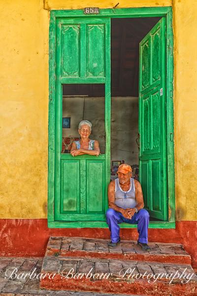 Couple in their doorway in Trinidad, Cuba