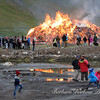 Bonfire celebration in Isafjorour, Iceland, midnight