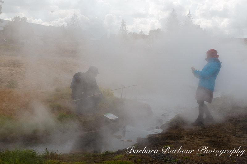 Cooking eggs in Steam Vent, Iceland