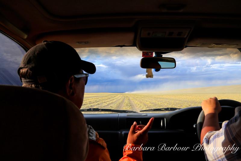 View of Gobi Desert from within car, Mongolia