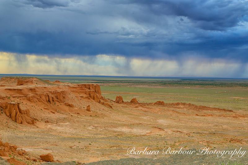 Rain storm over Flaming Cliffs in the Gobi Desert, Mongolia